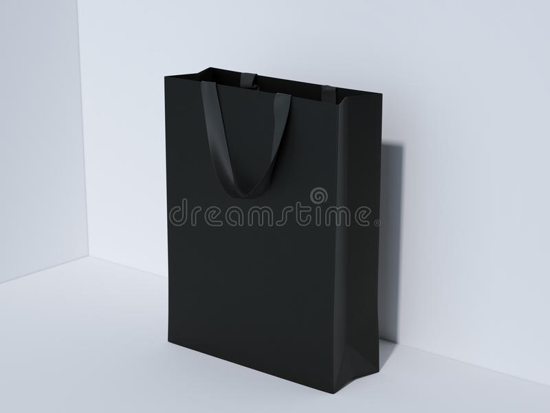 黑购物袋在演播室 3d翻译 向量例证