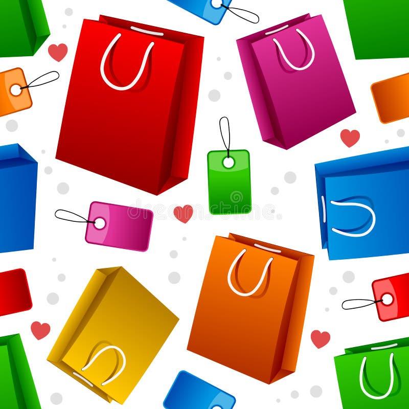 购物袋无缝的样式 库存例证