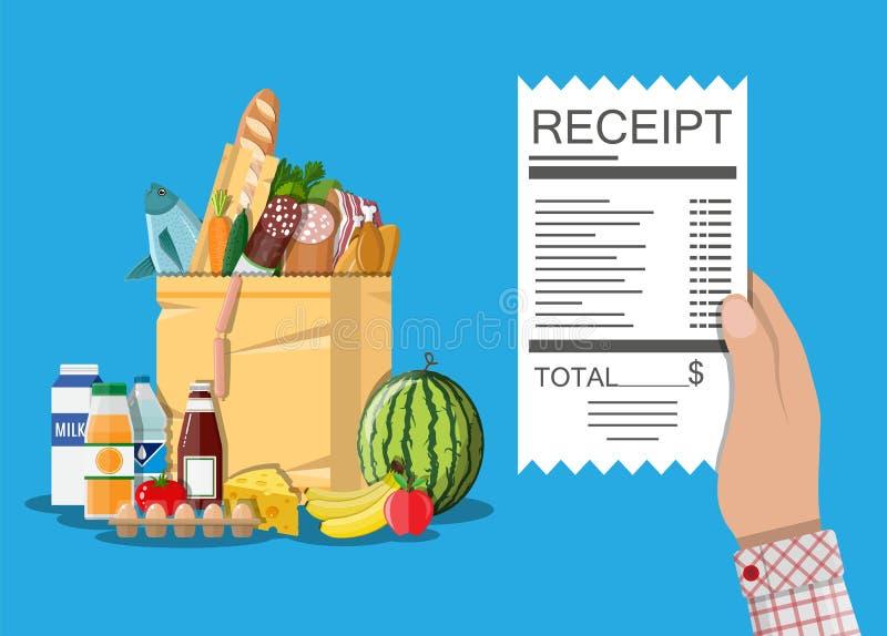 购物袋用食物和饮料,收据 库存例证