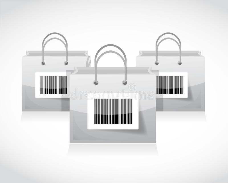 购物袋设置与计算机条码 库存例证