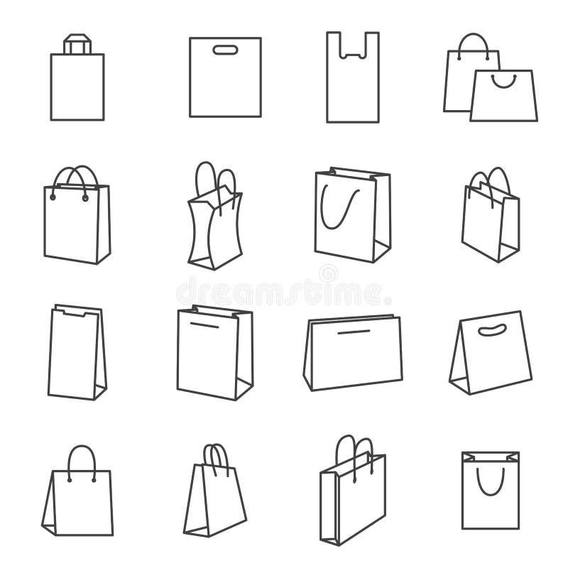 购物袋象 黑线在白色背景隔绝的象的汇集 库存例证