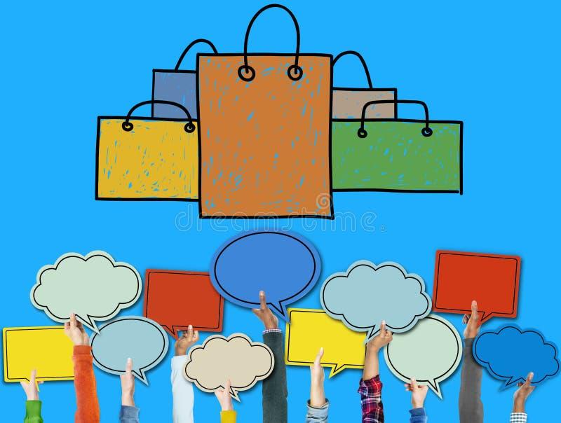 购物袋销售资本主义Shopaholic概念 皇族释放例证