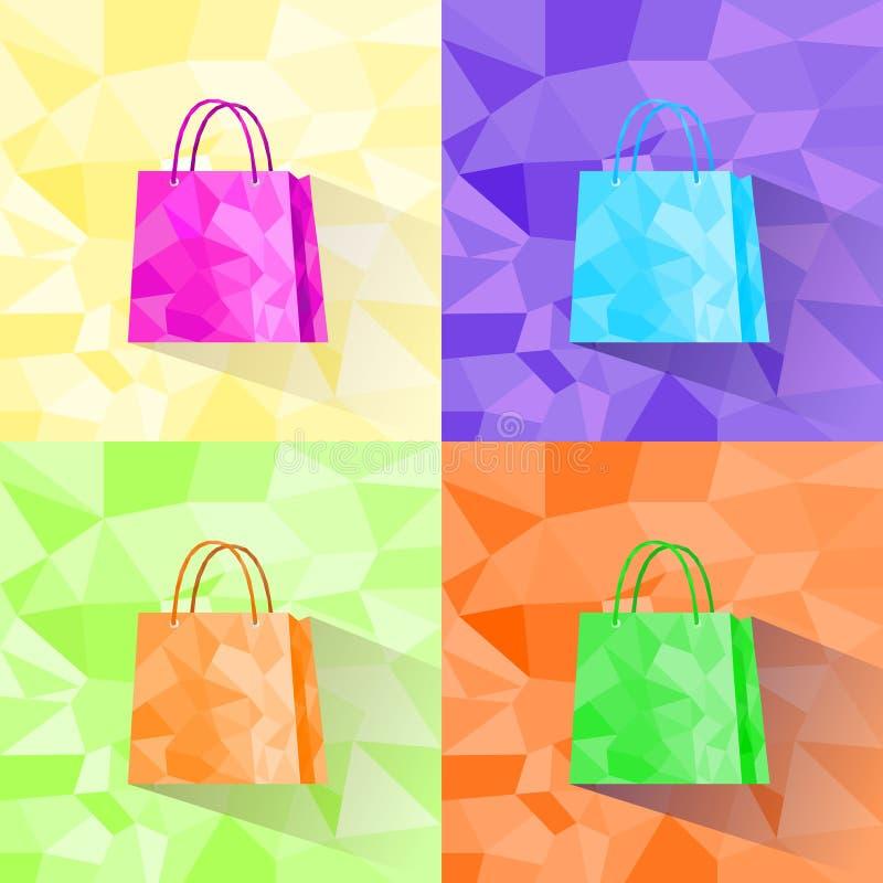购物袋集合多角形样式五颜六色的设计 库存例证