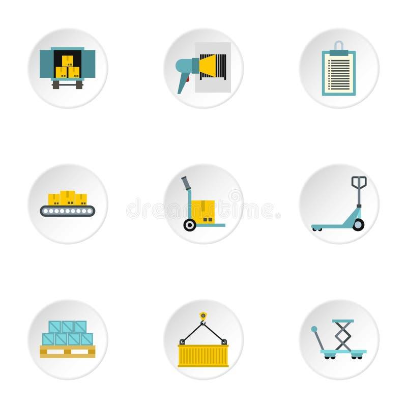 货物被设置的包装象,平的样式 库存例证
