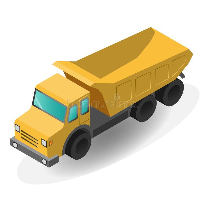 货物详细资料低部卡车 平的3d等量优质象 向量例证