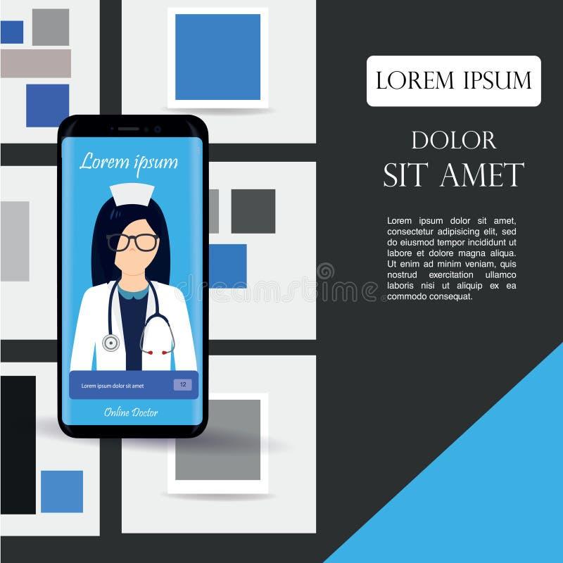 物质设计UI, UX,健康的有Details,售票医生的医疗流动阿普斯GUI屏幕,选择日期,计时,编辑外形, 向量例证