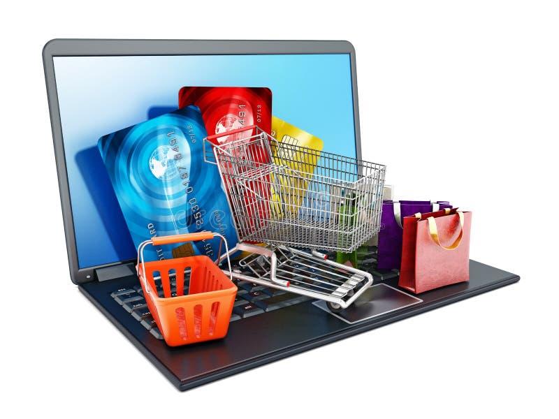 购物车、站立在便携式计算机上的信用卡和袋子 向量例证