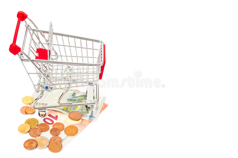 购物车和欧洲金钱 免版税图库摄影