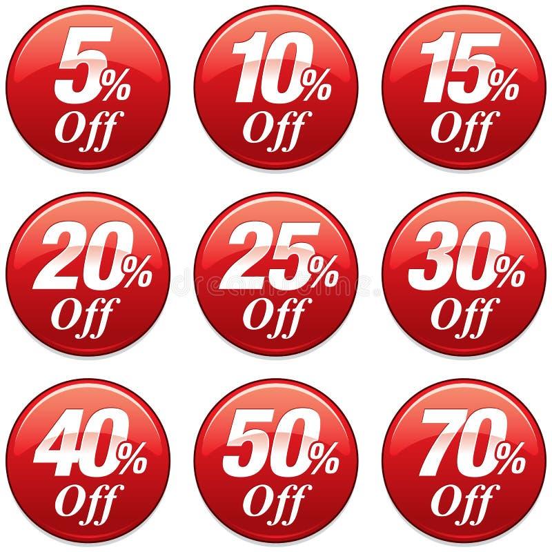 购物销售在红色的折扣徽章 向量例证