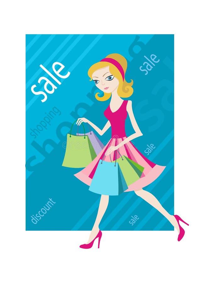 购物销售显示购物袋的女孩妇女 向量例证