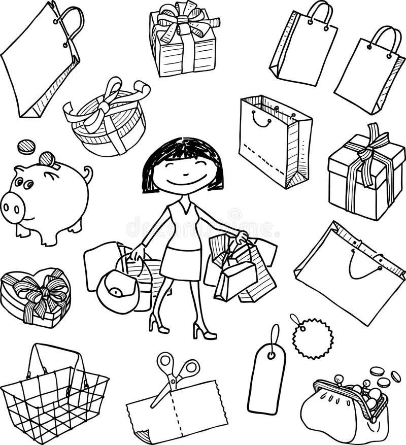 购物题材的乱画  库存例证