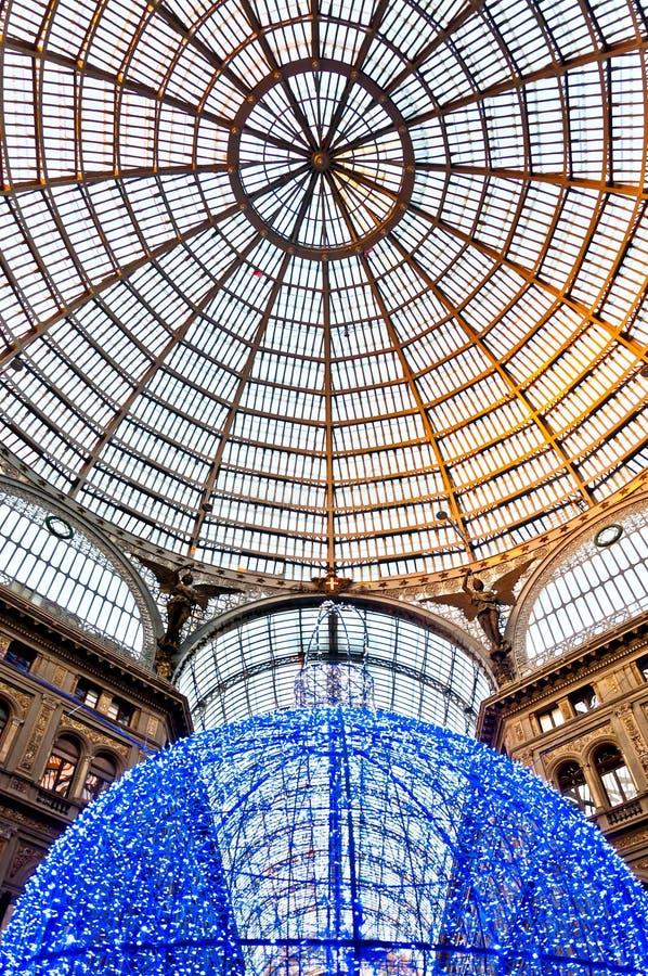 购物画廊圆顶场所翁贝托我在那不勒斯,意大利 免版税库存图片