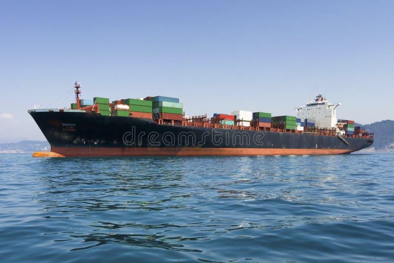 货物货物,集装箱船在海 免版税库存照片
