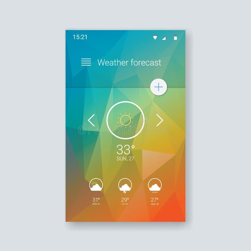 物质设计用户界面 天气预报 向量例证