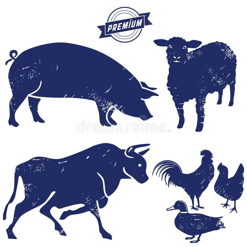 牲口剪影  库存例证