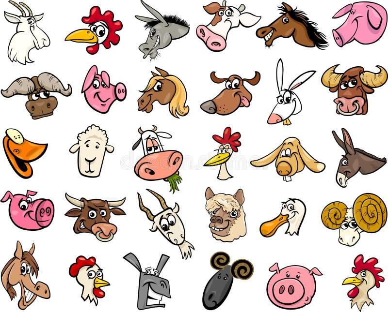 牲口动画片朝向大集合 库存例证