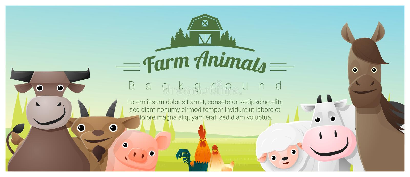 牲口和农村风景背景 向量例证
