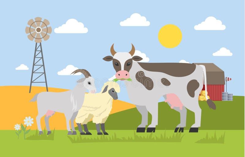牲口在领域吃草 向量例证