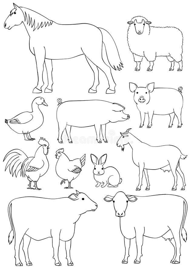 牲口线艺术集合 皇族释放例证