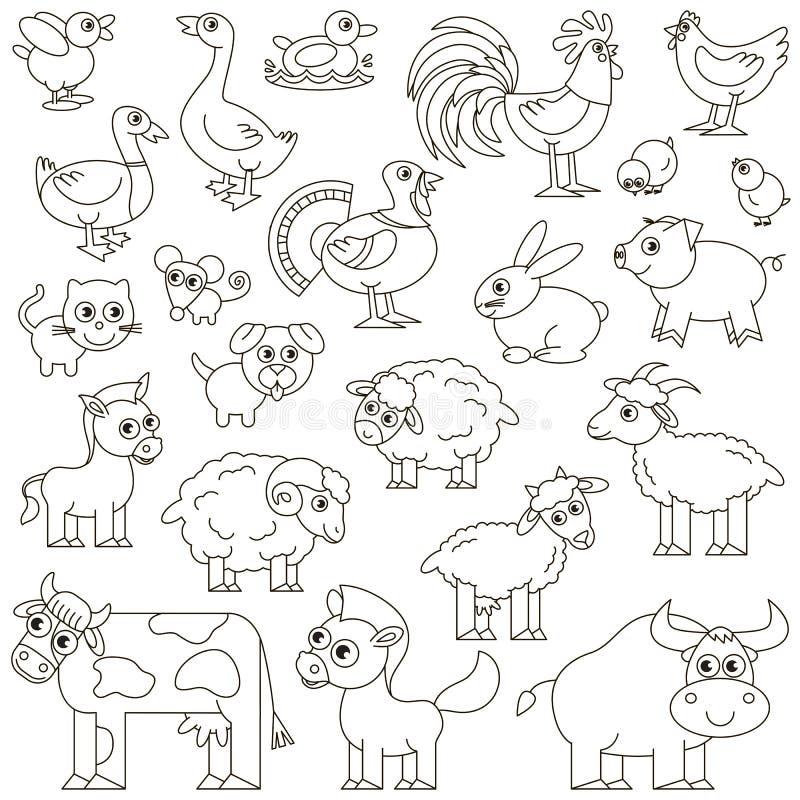 牲口设置了无色 向量例证