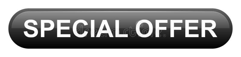 特价优待与圆角落按钮的黑色长方形 向量例证