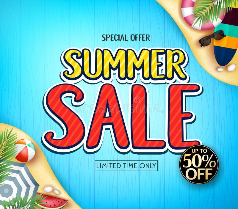 特价优待夏天销售时间有限夏季的仅广告海报与冲浪板,西瓜,伞,海滩球 皇族释放例证
