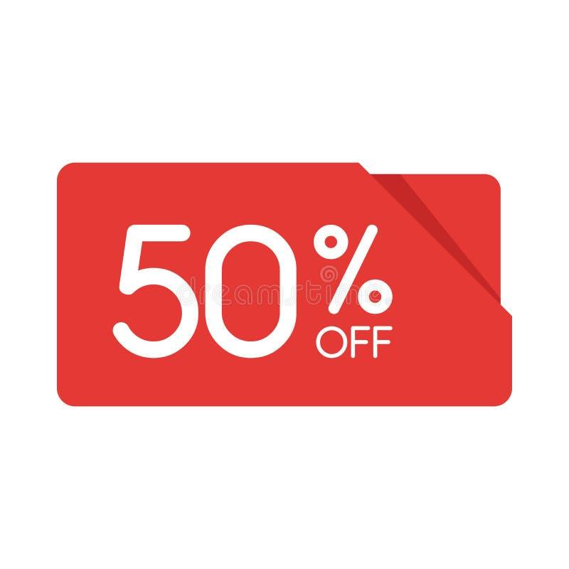 特价优待销售红色长方形origami标记 折扣50%出价标签,广告战的标志在零售, sa 库存例证