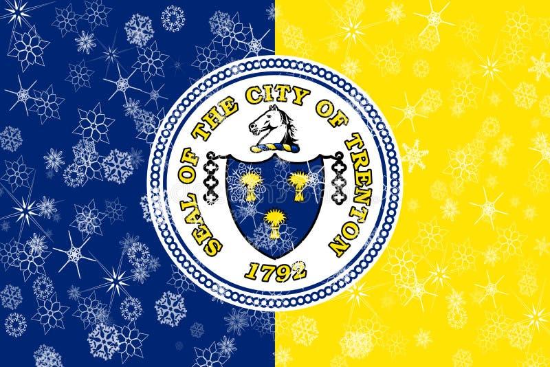 特伦顿,新泽西冬天雪花旗子背景 美国状态团结了 皇族释放例证