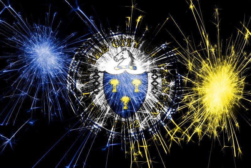特伦顿,新泽西烟花闪耀的旗子 新年、圣诞节和国庆节概念 美国状态团结了 库存例证