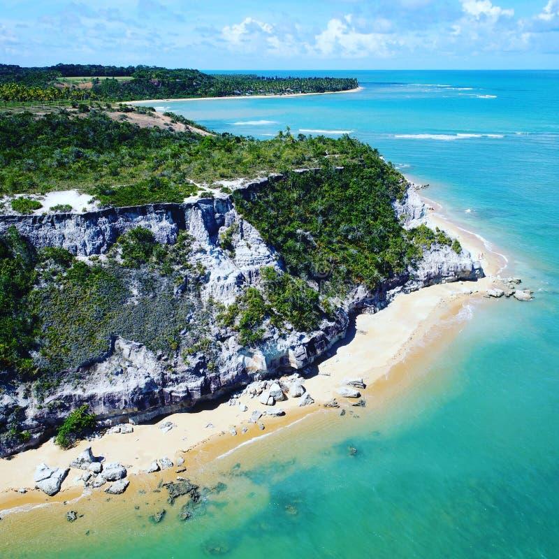 特兰科苏海滩,塞古鲁港,巴伊亚,巴西鸟瞰图  库存图片