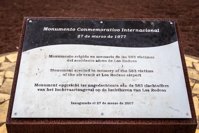 特内里费岛空难纪念匾 免版税库存图片