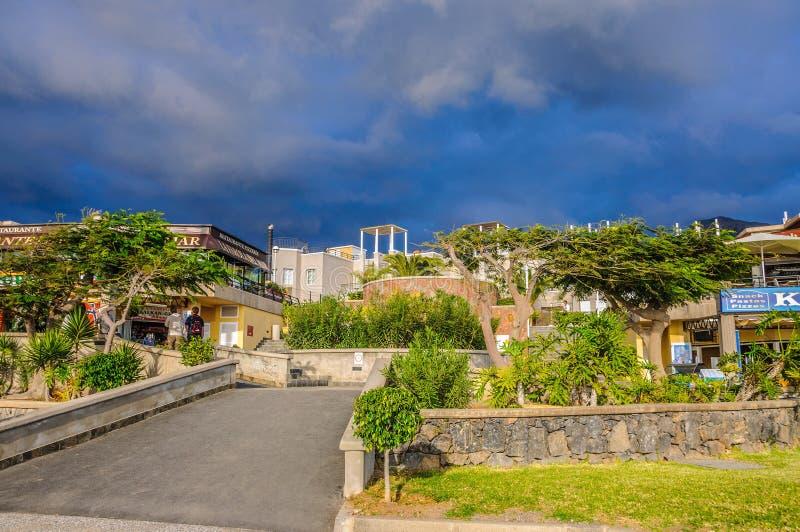 特内里费岛西班牙- 2012年12月:树和灌木临近旅馆 库存图片