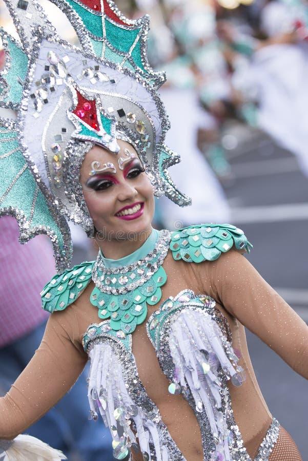 特内里费岛, 2月9日:字符和小组在狂欢节 库存照片