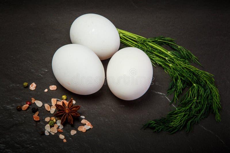特写镜头三白色鸡鸡蛋用绿色莳萝和香料 库存照片
