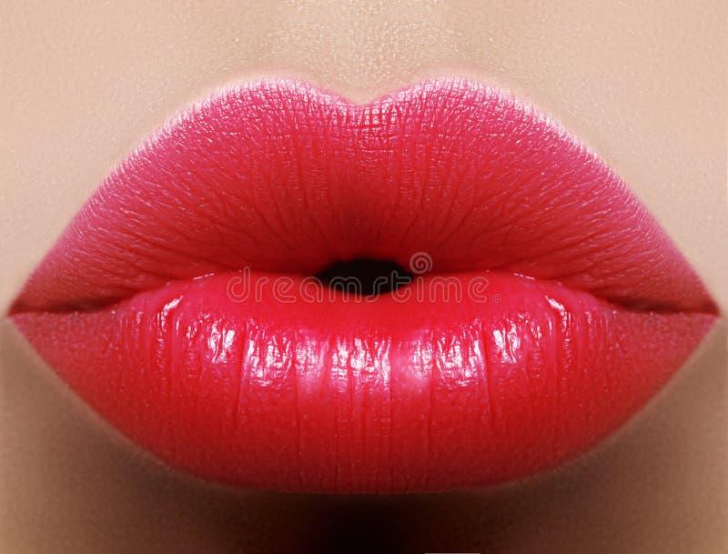 特写镜头亲吻红色嘴唇构成 在女性面孔的美丽的肥满充分的嘴唇 清洗皮肤,新构成 明亮的嘴唇 免版税库存图片