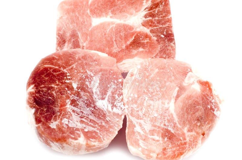 特写镜头冻结的猪肉 免版税库存照片