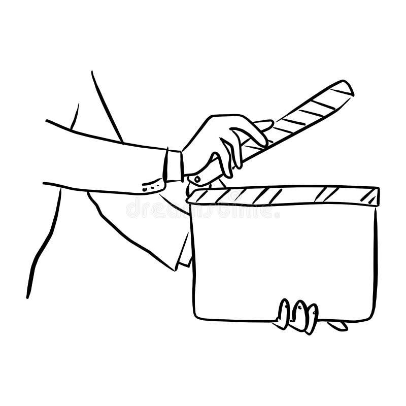 特写镜头商人藏品电影拍板传染媒介例证剪影乱画手拉与在白色隔绝的黑线 库存例证