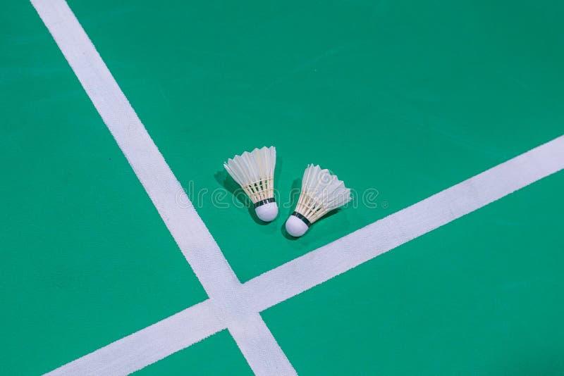 特写镜头在绿色法院的羽毛球shuttlecock 免版税库存照片