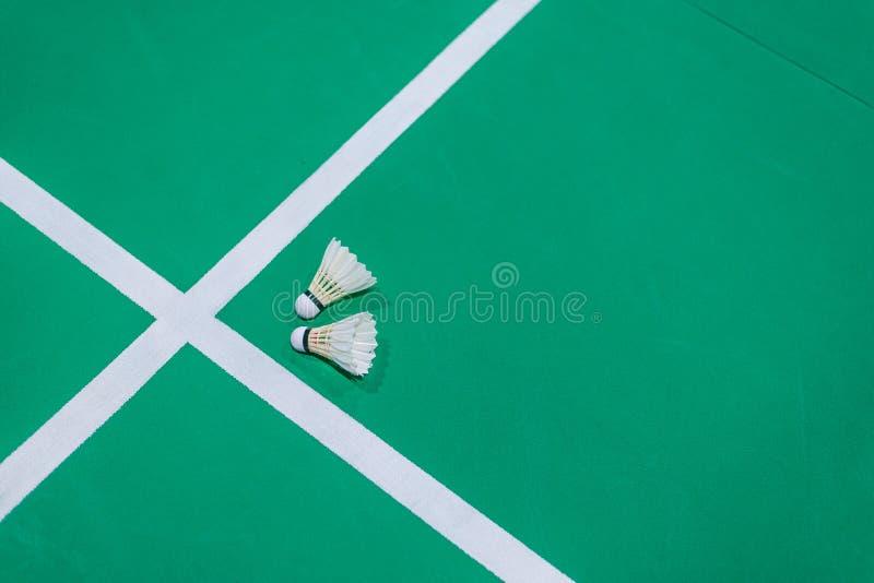 特写镜头在绿色法院的羽毛球shuttlecock 免版税库存图片