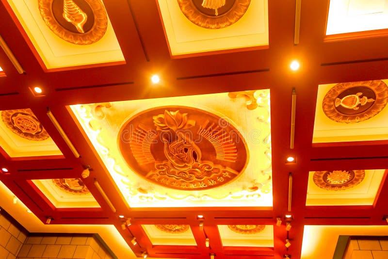 特写镜头在taiwa的钟Tai陈修道院装饰天花板 库存图片
