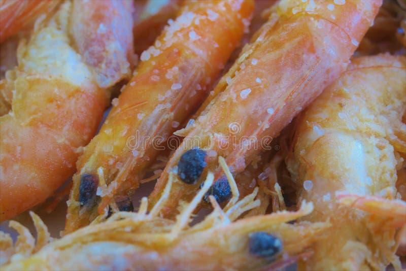 特写镜头大虾,鲜美和健康食品 免版税库存照片