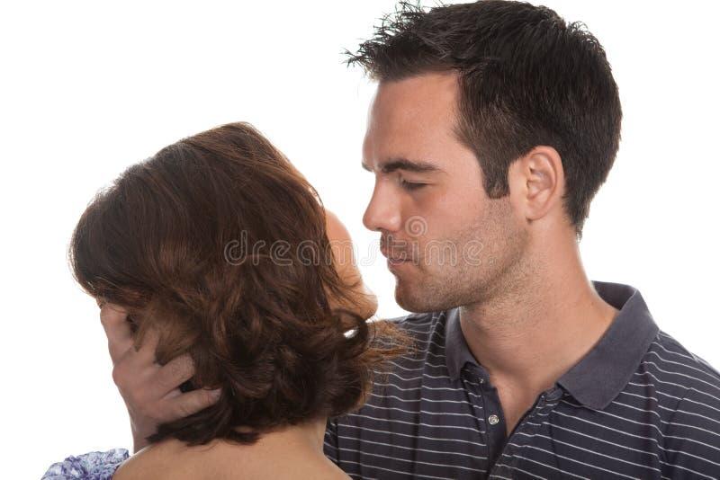 特写镜头夫妇愉快的纵向 库存照片