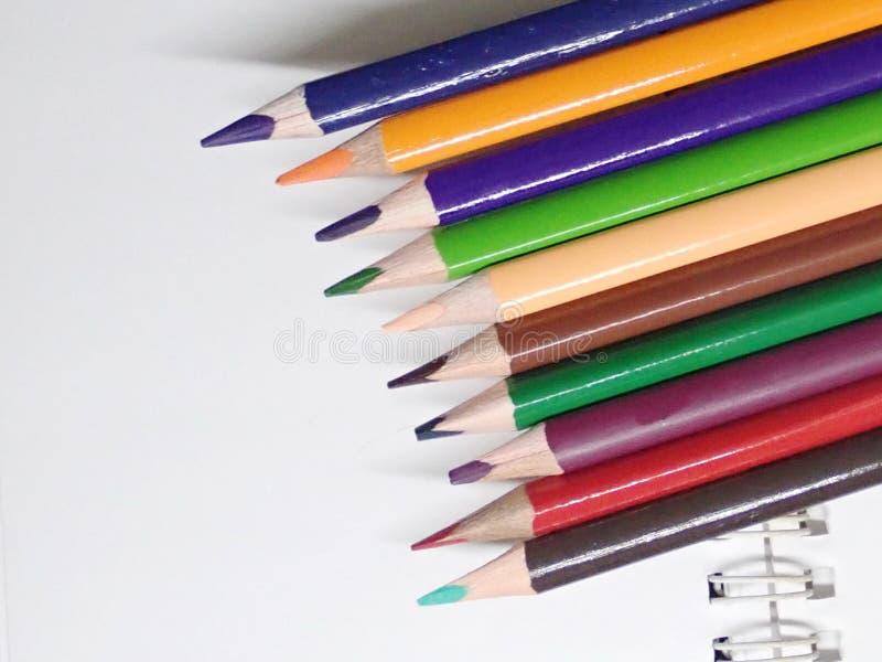 特写镜头套在白色孤立的色的铅笔 库存图片