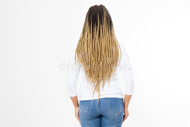 特写镜头妇女dreadlocks和非洲的辫子 非裔美国人的在白色背景隔绝的女孩头发后面背面图 发型 免版税库存图片