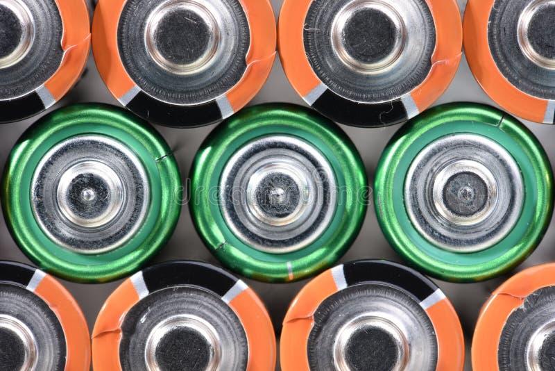 特写镜头小组碱性电池顶视图 免版税库存图片