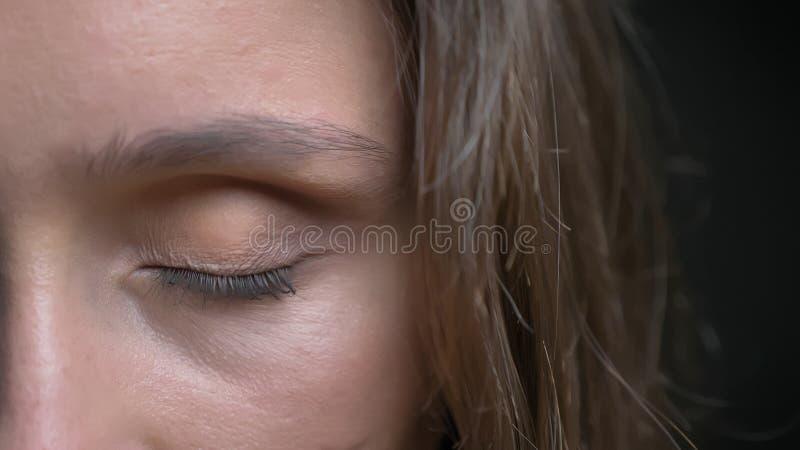 特写镜头年轻俏丽的白种人深色的女性面孔半面孔射击与在前面被关闭的棕色眼睛的 免版税图库摄影