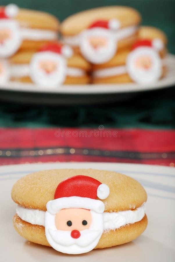 特写镜头曲奇饼表面圣诞老人 库存照片