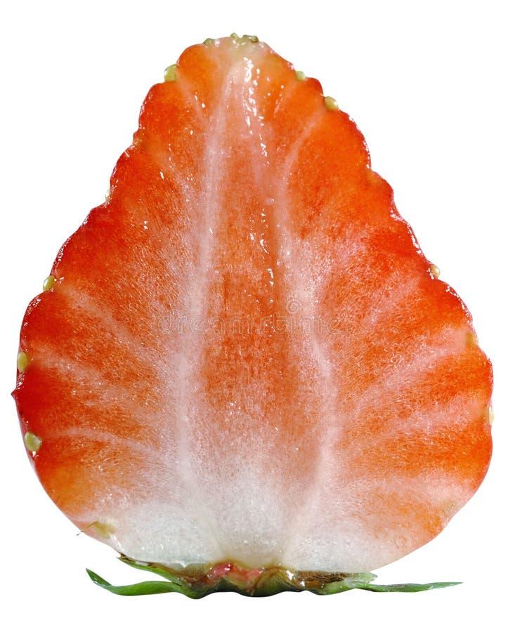 特写镜头查出在照片草莓白色 免版税库存图片