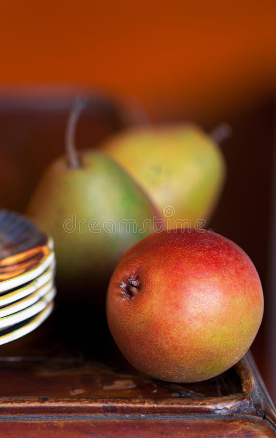 特写镜头梨制表木头 库存图片