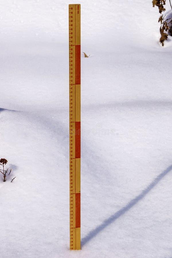 特写镜头测量的冬天降雪- 3 库存图片